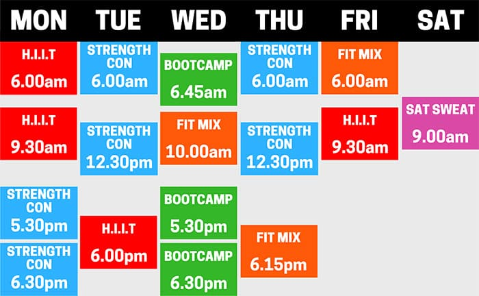 Boot Camp Timetable
