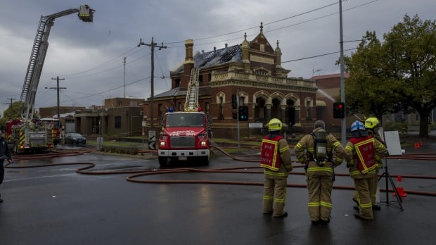 About 50 firefighters helped fight the blaze at the old Moonee Ponds courthouse. Photo: Jesse Marlow