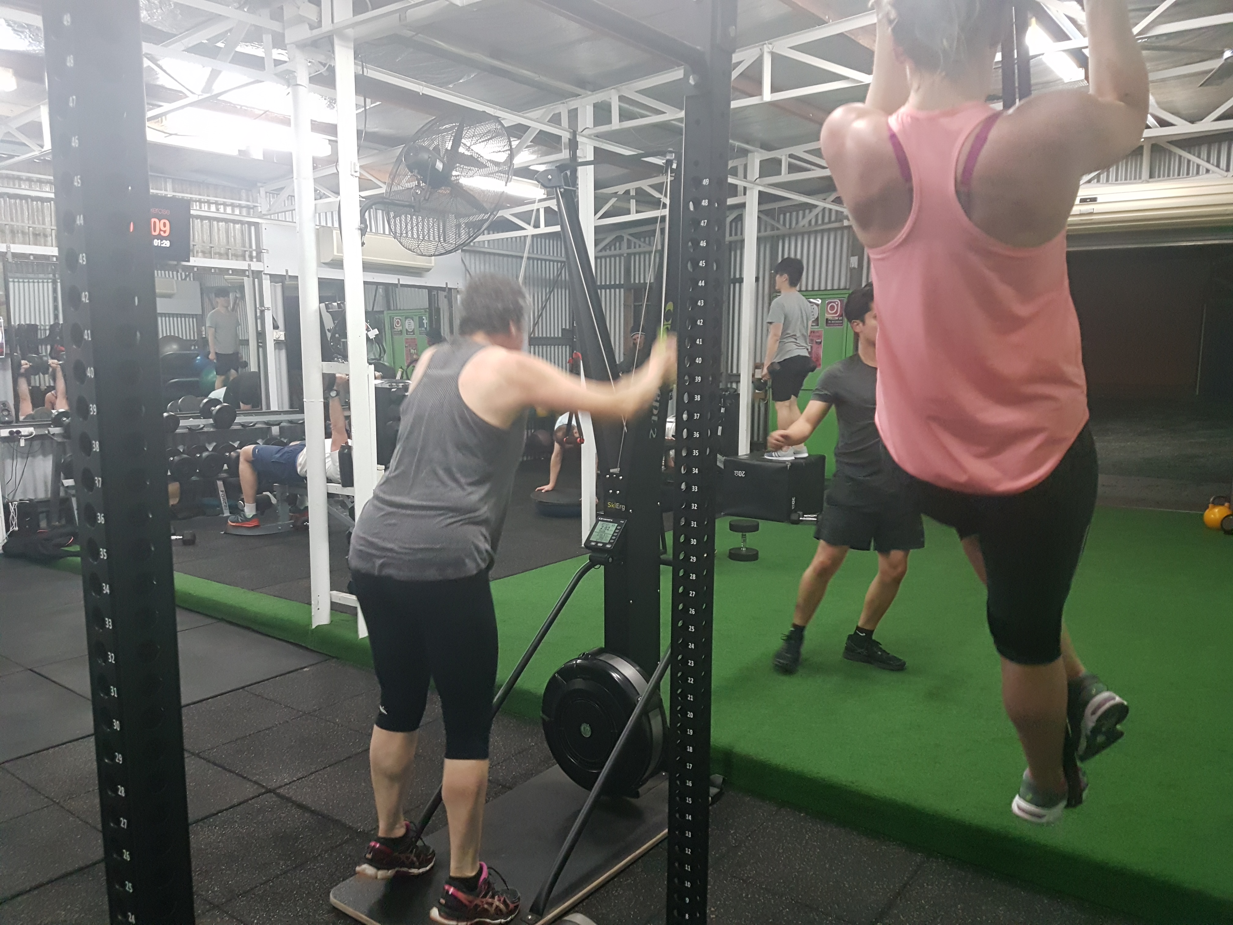 two clients exercising